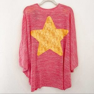 Steven Universe Open Cardigan Yellow Lace Star Pink Womens Size Small